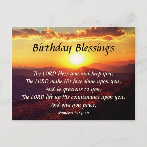Birthday Blessing Numbers 6:24-26 Mountain Sunset Postcard