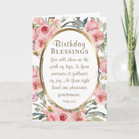 Birthday Blessings Inspirational Elegant Floral Card
