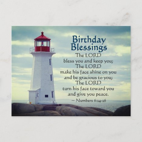 Birthday Blessings Numbers 6:24-26 Lighthouse Postcard