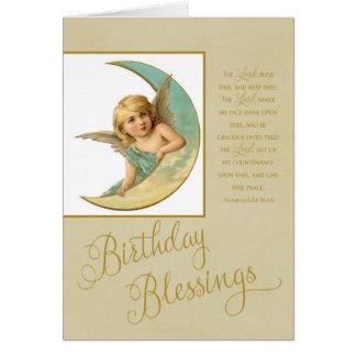 Birthday Blessings Vintage Angel & bible verse Card