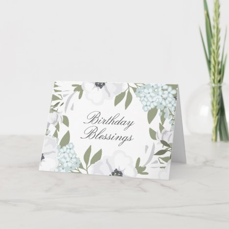 Birthday Blessings White & Blue Watercolor Floral Card