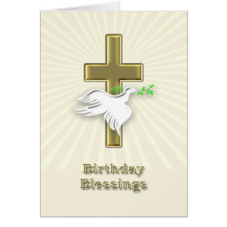 Birthday blessings with a golden cross greeting card
