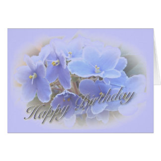 Birthday Blue African Violets Greeting Card