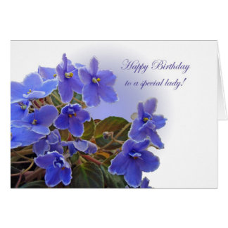 Birthday Blue African Violets Card