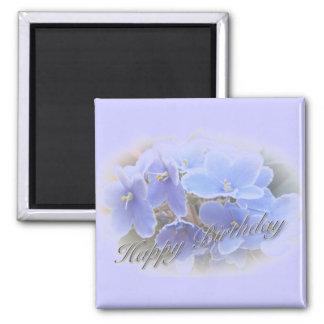 Birthday Blue African Violets Magnet
