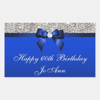 Birthday Blue Bow Silver Sequins Rectangular Sticker