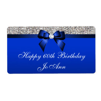 Birthday Blue Bow Silver Sequins Water Labels