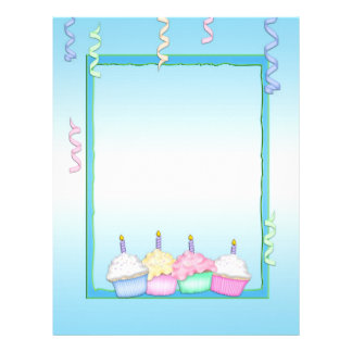 Birthday Blue Cupcakes Letterhead