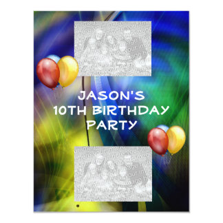 Birthday Blue Green Abstract & Balloons Photo Card