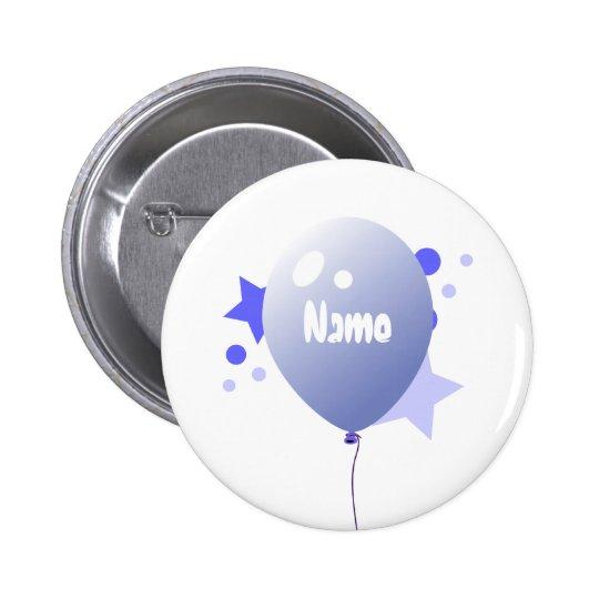 Birthday Blue Party Balloon Name Button