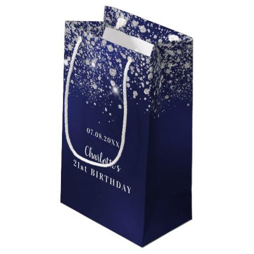 Birthday blue white glitter dust monogram small gift bag