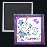 """Birthday Bluebells and Butterflies Magnets<br><div class=""""desc"""">Bluebells of happiness flowers and butterflies for a cheerful birthday magnet.  Add your own name in template provided.  Fun birthday keepsake.  Original design by Anura Design Studio 2010.</div>"""