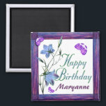 "Birthday Bluebells and Butterflies Magnets<br><div class=""desc"">Bluebells of happiness flowers and butterflies for a cheerful birthday magnet.  Add your own name in template provided.  Fun birthday keepsake.  Original design by Anura Design Studio 2010.</div>"