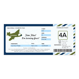 Birthday Boarding Pass Ticket 4x9.25 Paper Invitation Card