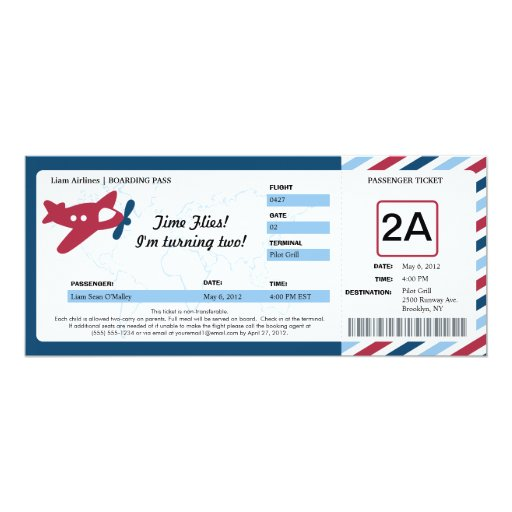 Birthday Boarding Pass Ticket 4x9.25 Paper Invitation Card