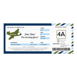 Birthday Boarding Pass Ticket Custom Invites