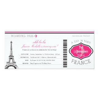 Birthday Boarding Pass to Paris 4x9.25 Paper Invitation Card