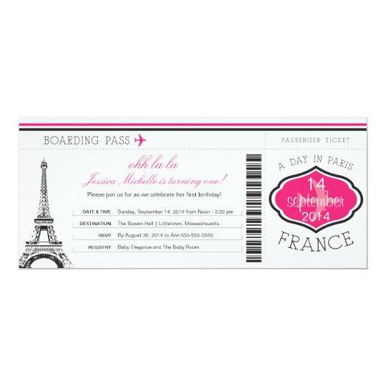 Birthday Boarding Pass to Paris Card