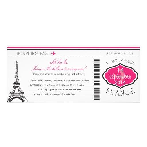 Birthday Boarding Pass to Paris Custom Invites