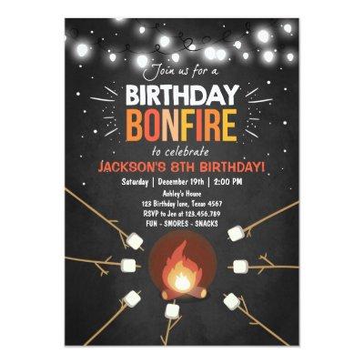 Bonfire Party Campfire Flames Camp Out Invitation Zazzle Com