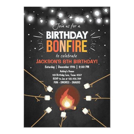 Birthday Bonfire Campout Cookout Party invitation   Zazzle