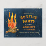 Birthday Bonfire Party Watercolor Invitation Postcard