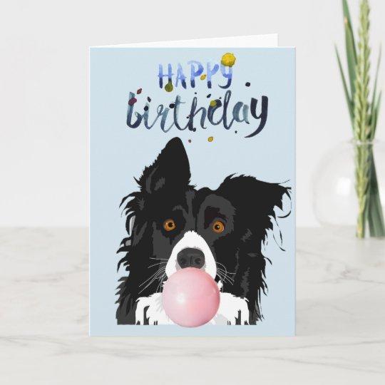 birthday border collie dog animal bubble gum card  zazzle
