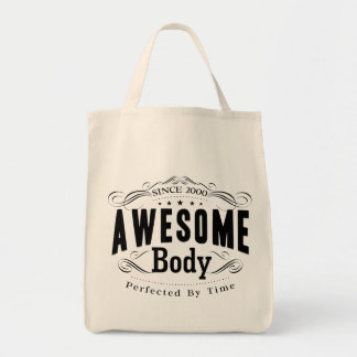 Birthday Born 2000 Awesome Body Grocery Tote Bag