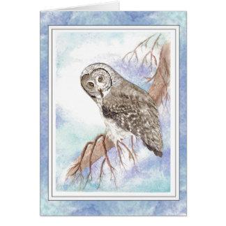 Birthday Boss with Great Grey, Gray Owl Bird Card