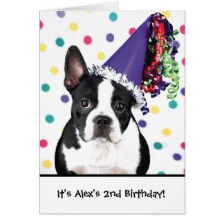 Birthday boston terrier customizable invitations