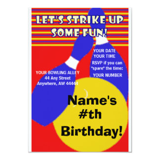 Birthday Bowling Invitation. Card