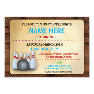 Birthday Bowling Invite Party Invitation Wood