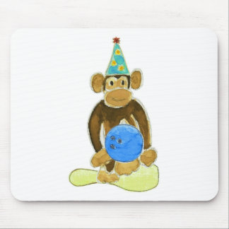 Birthday Bowling Monkey Mouse Pad