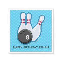 Birthday Bowling Party Chevron Blue Napkin
