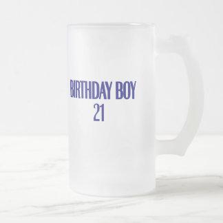 Birthday Boy 21 Frosted Glass Beer Mug