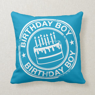 Birthday Boy 2 tone rubber stamp effect -blue- Pillow