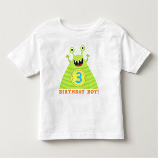 Birthday boy 3 years funny monsters kids t-shirt