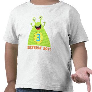 Birthday boy 3 years funny monsters kids t-shirt
