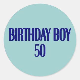 Birthday Boy 50 Round Stickers