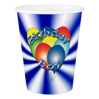 Birthday Boy Balloons Blue Party Cups