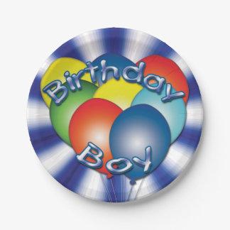 Birthday Boy Balloons Blue Party Plates