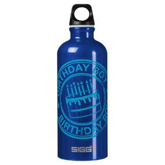 Birthday Boy -blue rubber stamp effect- Aluminum Water Bottle
