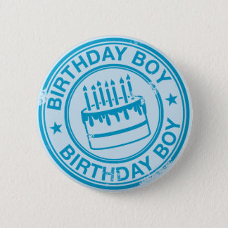 Birthday Boy -blue rubber stamp effect- Button