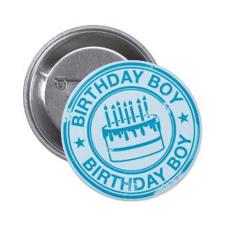 Birthday Boy -blue rubber stamp effect- Button
