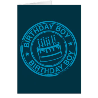 Birthday Boy -blue rubber stamp effect- Card