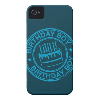 Birthday Boy -blue rubber stamp effect- Case-Mate iPhone 4 Cases