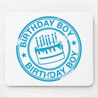 Birthday Boy -blue rubber stamp effect- Mouse Pad