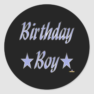 Birthday Boy Blue Stars Classic Round Sticker