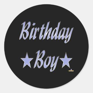 Birthday Boy Blue Stars Round Stickers
