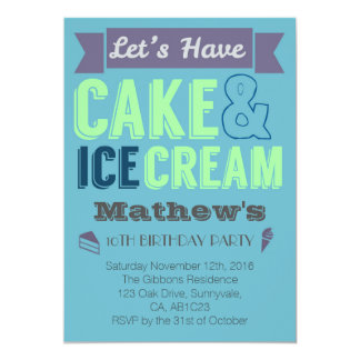 Birthday Boy Cake Ice cream Party Invitation